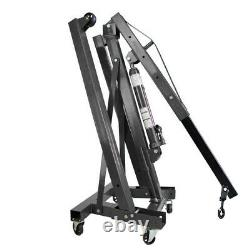 Black Folding 1 Ton Hydraulic Engine Crane Hoist Stand Lift Mechanics Workshop