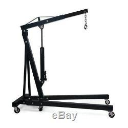 Black Folding 2 Ton Hoist Lift Jack Hydraulic Engine Crane Workshop Lifting Tool
