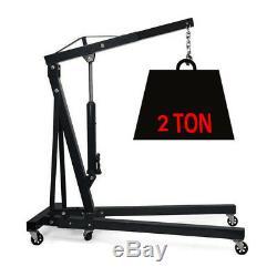 Black Steel 2 Ton Fold Hydraulic Pump Crane Engine Stand Motor Hoist Lift Mobile