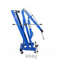 Blue 2 Ton Hydraulic Engine Crane Stand Folding Mechanics 2000kg Hoist Lift Jack