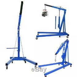Blue 2 Ton Tonne Hydraulic Folding Engine Hoist Crane Stand Lift Car Shop Used