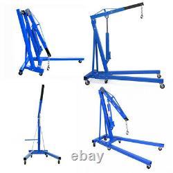 Blue Heavy Duty 2 Ton Hydraulic Folding Engine Crane Stand Hoist Lift Jack Wheel