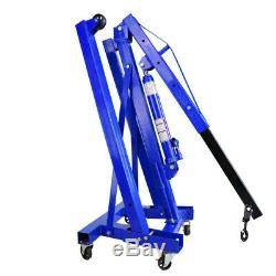 Blue Mobile Hydraulic Engine Crane Mechanics Hoist Garage Lift Jack Stand 1 Ton