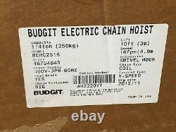 Budgit BEHC2516 Manguard Electric Chain Hoist 1/4 Ton 460V 3PH 60Hz 10' Lift New