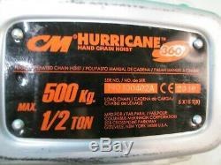 CM Hurricane Hand Chain Hook Hoist 1/2 Ton 500KG 360° NEW COSMETIC BLEMISHING