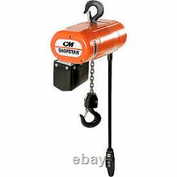CM Shopstar 1/4 Ton, Electric Chain Hoist, 10' Lift, 8 FPM, 115V 2095 1 Each