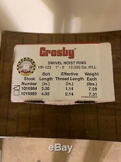 Crosby 1016964 HR125 Hoist Ring 10000 Lb WLL 1X3.0, 5 Ton Rigging Lifting Eye