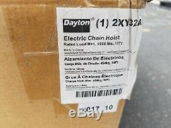 Dayton Electric Chain Hoist 1000 lbs. 1/2 Ton 10 ft. 115v 2XY32A NEW