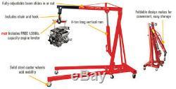 Folding 2 Ton Tonne Hydraulic Engine Crane Hoist Lift Wheel Stand Lifting Tools