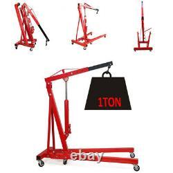 Garage Workshop Hydraulic 1Ton Folding Engine Crane Stand Hoist Lift Jack Wheels