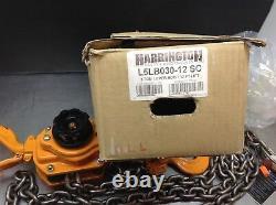 HARRINGTON LB030-SC-12 Lever Slip Clutch Chain Hoist, 6000 lb. 3 Ton 12' Lift