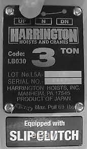 Harrington 3 Ton Lever Hoist with15' Chain