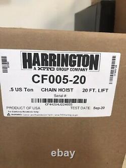 Harrington CF005-20 1/2 Ton Chain Hoist 20-FT Lift