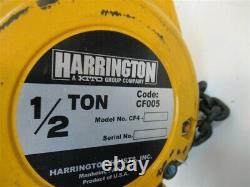 Harrington CF005-20, 1/2 Ton Manual Chain Hoist, 20' Lift