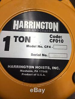 Harrington CF010-30 1 Ton Chain Hoist Model CF4-1082 30 Ft Lift NIB