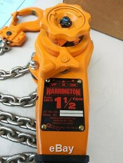 Harrington LB015 Lever Hoist 1 1/2 ton puller lever chain hoist 12ft Chain Hooks