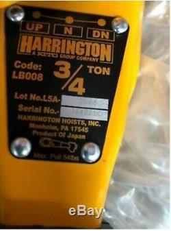 Harrington chain hoist 3/4 ton 15 foot lift L5LB008-15