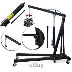 Heavy 2 Ton Hydraulic Folding Engine Shop Crane Stand Hoist Lift Workshop Lifter