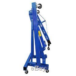 Heavy Duty Blue 1 Ton Tonne Hydraulic Folding Engine Crane Stand Hoist Lift Jack