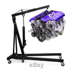 Heavy Duty Folding 2 Ton Hydraulic Engine Crane Hoist Lifter Stand Durable Black