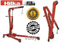 Hilka 1 Ton Tonne Folding Engine Crane Engine Lift Hoist Stand Garage Hydraulic