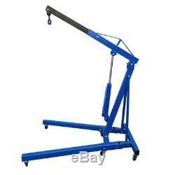 Hydraulic Crane 1 Ton Tonne Engine Hoist Lift Lifting Mobile Garage Tool Blue UK