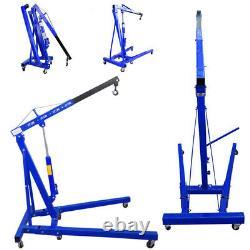 Hydraulic Folding Workshop Engine Crane Used 1 Ton Hoist Lifting Lift Wheel Blue