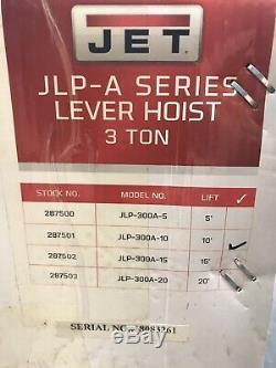 JET 287501 JLP-A Series 3 Ton Lever Hoist, 10' Lift