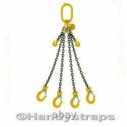 Lifting Chain Sling 2 Metre x 4 Leg 13mm 11.2 ton with Shortners Handy Straps