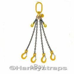 Lifting Chain Sling 2m x 4 Leg 10mm 6.7 ton with Shortners Handy Straps