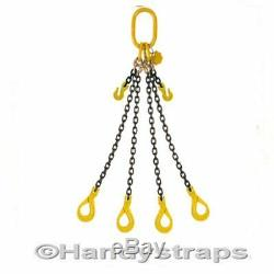Lifting Chain Sling 2m x 4 Leg x 7mm Self Locking Hooks 3.15ton Shortners