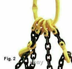 Lifting Chain Sling 4m x 2 Leg 7mm 2.12ton with Shortners Handy Straps