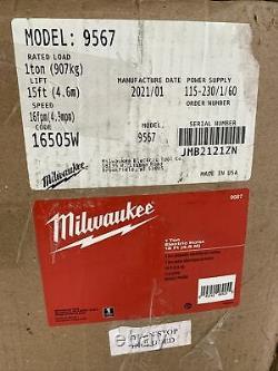 Milwaukee Professional Electric Chain Hoist 1-Ton Capacity 15' Lift 9567 (Y-10)