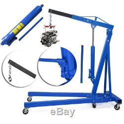 Mobile Hydraulic Engine Crane Hoist Lift Folding Blue 2t Ton INDUSTRIAL WORKSHOP