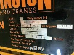 NEW 2017 HARRINGTON 2 TON HOIST MR020L NER020LD Chain Electric 4000 Pound LB