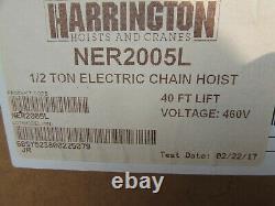 NEW! HARRINGTON NER2005L, 1/2 TON CHAIN HOIST, 40 ft, 460V, WithCHAIN BASKET KIT