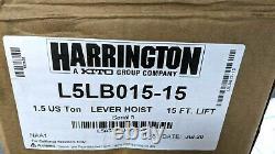 NEW Harrington L5LB015-15 Lever Hoist Come Along 1-1/2 Ton, 15' Lift- Made 2020