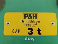 P & H Harnischfeger Hoist I Beam Push Trolley 3 Ton 6,000lb