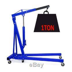 Portable 1 Ton Pro Engine Crane Hoist Trolley Folding Carport Tool Blue