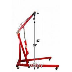 Portable 2 Ton Folding Workshop Engine Crane 2000KG Hydraulic Hoist Lift Jack UK