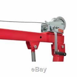 Portable Truck Crane Hoist Deer Lift Winch Hydraulic Hand Pump One 1 Ton Manual