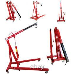 RED Folding 1 Ton Tonne Hydraulic Engine Crane Stand Hoist Lift Jack with Wheel