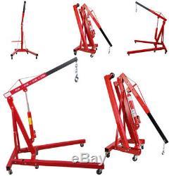 Red 1 Ton Hydraulic Folding Garage Workshop Engine Crane Hoist Lift Stand Wheels