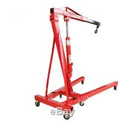 Red 1 Ton Hydraulic Folding Workshop Engine Crane Stand Wheeled Hoist Lift Jack