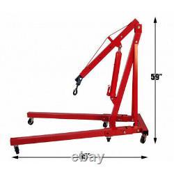 Red 1 Ton Hydraulic Hoist Lift Jack Folding Engine Crane Stand Industrial Garage