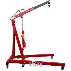 Red 2 Ton Hydraulic Folding Workshop Engine Crane Hoist Heavy Duty Lift Wheels