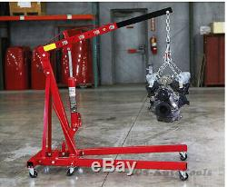 Red 2 Ton Tonne Hydraulic Folding Engine Crane Stand Adjustable Hoist lift Jack