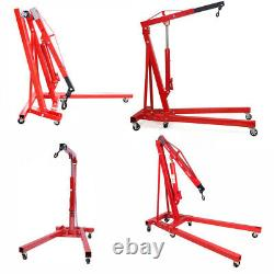 Red 2 Ton Tonne Hydraulic Folding Engine Crane Stand Hoist Lift Jack Garage Tool