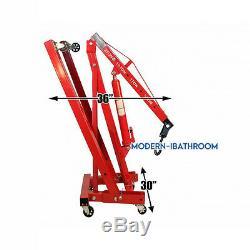 Red Folding Engine Hoist Lift / Workshop Crane Hydraulic Wheel 2 Ton Capacity UK