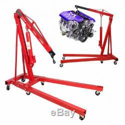 Red Folding Hydraulic 2 Ton Engine Crane Stand Hoist Lift Jack Garage Workshop